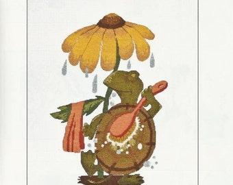 "Turtle Counted Cross Stitch Pattern MYRTLE THE TURTLE 9"" x 13"" Bath Accent Bath Decor Sunflower Rain"