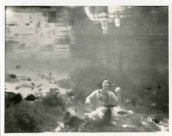 Vintage Photograph Surreal Underwater WOman Psoing for Camera