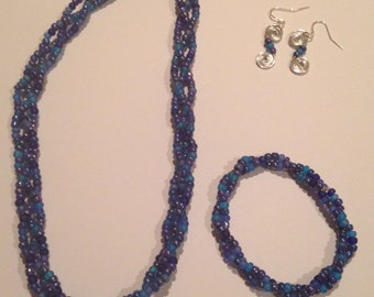 Blue braided set (necklace, bracelet, and earrings)