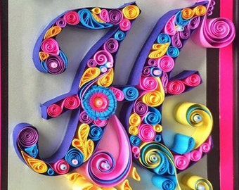 Quilling Alphabet frame - H and M