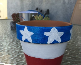 American flag terra cotta pot