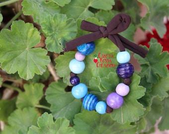 Blue Wooden Bracelet
