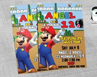 Invitation Mario Bros RETRO, Mario Bros Party, Luigi invitation, invitation, Party, Birthday