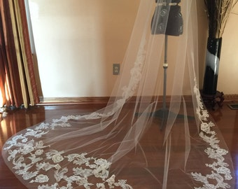 Cathedral length Veil, Lace wedding veil, Applique with ivory lace, light ivory veil tulle.