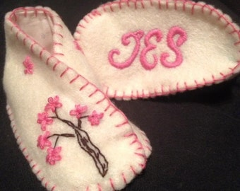 Handmade, fully lined, embroidered booties  completely made to order.