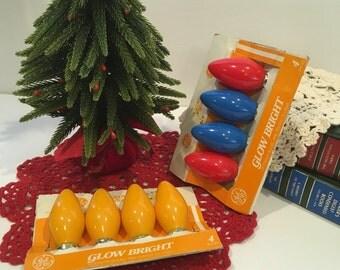 Vintage Christmas lights, bulbs, yellow, red, blue, lighting, holiday, decor, tree, light bulbs, retro, shabby chic, cottage, photo prop