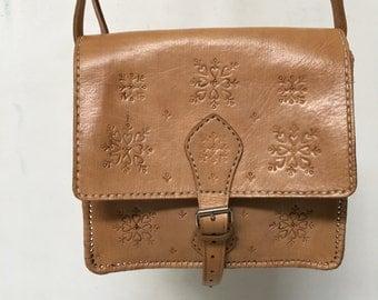 Natural Tan Leather Moroccan Embossed Handbag