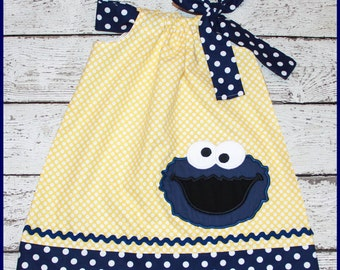 Yellow polka dot and Navy Blue Cookie Monster Sesame Street Pillowcase style dress