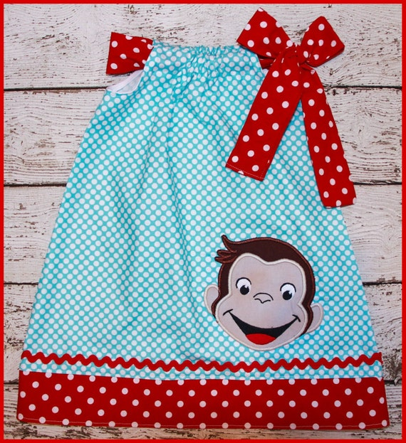 Super Cute Curious George  Pillowcase style dress Aqua polka dot and red