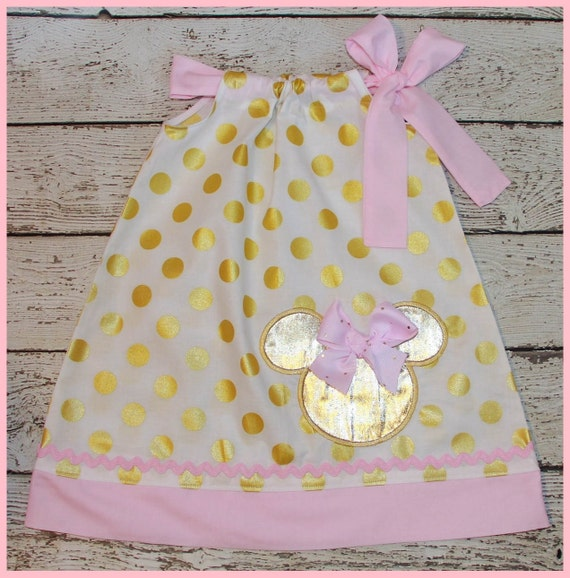 Pretty Pink and Gold Minnie Mouse Pillowcase style dress