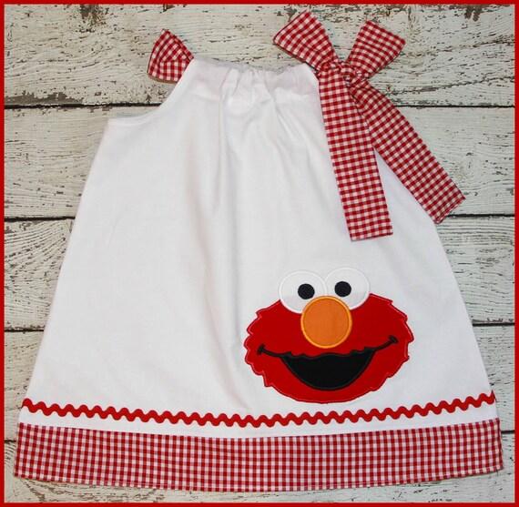 Super Cute Red Gingham Elmo Pillowcase style dress