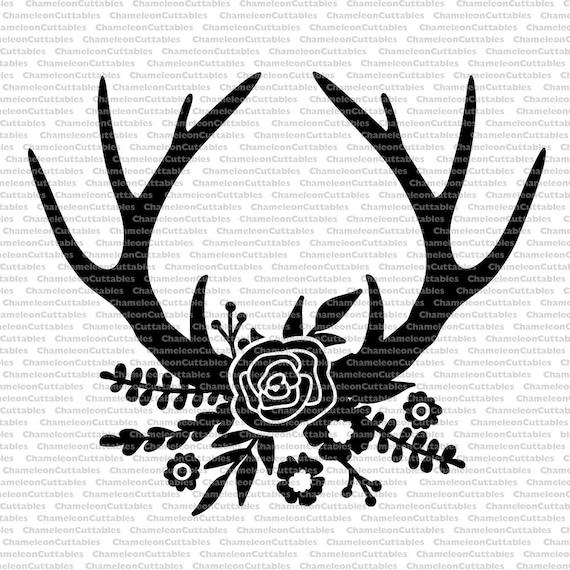 floral antlers black svg cut file rustic flowers deer