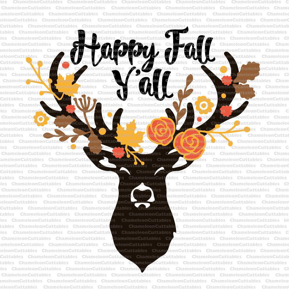 happy fall y all svg deer autumn antlers floral Deer Head Silhouette Printable deer head silhouette clip art