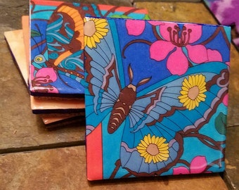 Blue/Brown/Orange Butterfly coaster set of 4