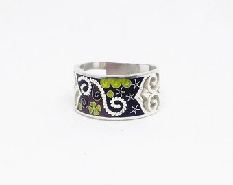 Multi color ring, enamel band ring, sterling silver ring, enamel ring for women, Unique pattern ring, free shipping, gift for her