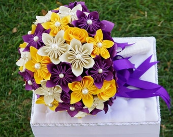Ready to Ship,  Custom-made bridal bouquet, Yellow Purple and Ivory
