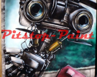 Johnny 5, Short Circuit - A1 canvas print from airbrushed artwork