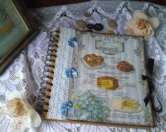 Hand made nostalgia recipe book with decoupage technique