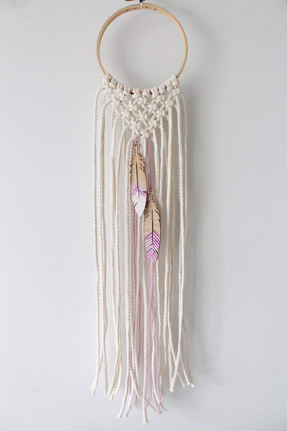 macrame hoops hoop macrame wall hanging feather detail by 9507