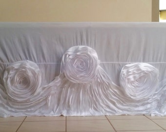 Rose Tablecloth, White Rose Tablecloth, White Rosette Tablecloth, Rosette Tablecloth