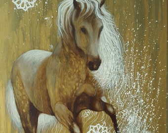 SALE -  Arabic Horse  original art, oil painting on canvas home decor by InterArtShop 50×70cm  .free shipping in UK