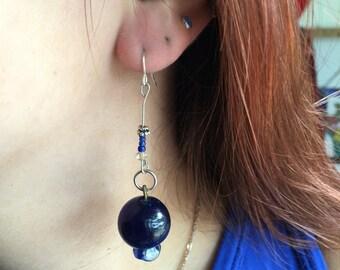 90s glass bead blueberry earrings