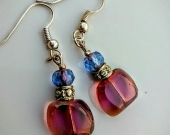 Berry Picasso with Periwinkle Earrings
