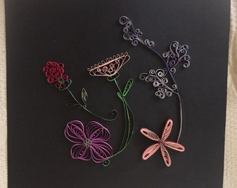 "ColorMeDelicateBlooms-A large 12""x12"" quilled artwork in florals"