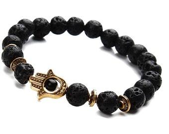 Hamsa Bracelet Black Lava, Hamsa Hand Bracelet Men, Lava Hamsa Bracelet,Men Lava Bracelet,Black Lava Bracelet,Black Lava Beads,Mens Bracelet