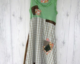 Upcycled tunic, repurposed clothing, lagenlook, boho, rustic, frayed edges, dress, lace, tank top, patches, S/M SherryJonesDesigns