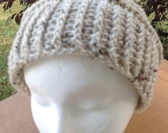 Slouchy Beanie, Crochet Hat, Hand Made Crochet Hat, Birch White Rippled Slouchy Hat