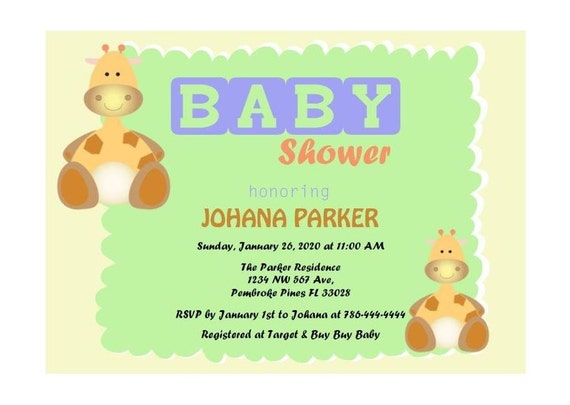 giraffe baby shower animal invitations pdf by downloadyourpartynow