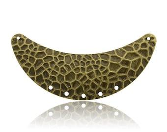 2 connectors chest 7 holes - bronze bib - 68 mm bronze metal Base Metal Pendant - Crescent 68x7mm - half moon Bronze