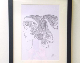 Limited Edition Signed Print, Hand Drawn Art Deco Illustration