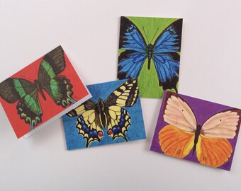 Becoming Butterfly Series Notecard Set - 4 Blank Cards with Envelopes- Printed on Recycled Matte Yardstick