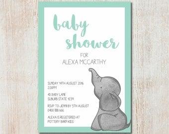 Baby elephant baby shower invitation - DIGITAL FILE