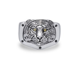 Tiger Jewelry, Tiger ring / Solid sterling silver (silver 925)