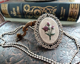 Rose Embroidered Frame Necklace in Antique Silver
