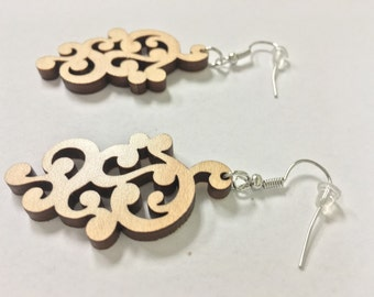 Laser Cut Wooden Earrings