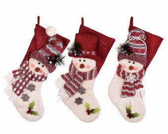 "Christmas Hooked Stocking  Snowman 22""H"