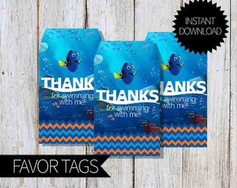 Finding Dory Birthday Party PRINTABLE Favor Tags- Instant Download   Finding Nemo