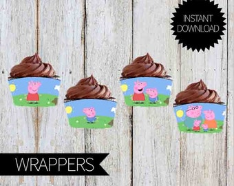 Peppa Pig Birthday Party PRINTABLE Cupcakes Wrappers- Instant Download Peppa Pig Party | Birthday