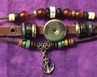 Genuine Leather Snap Bracelet with Beads and a Dangling Anchor