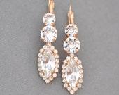 Rose Gold Diamond Bridal 3 Tier Rhinestone Drop Earrings Swarovski Crystal Marquise Leverback Bridal Jewelry Bride Wedding Vintage Romantic