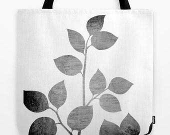 Leaves Black and Grey- Tote Bag