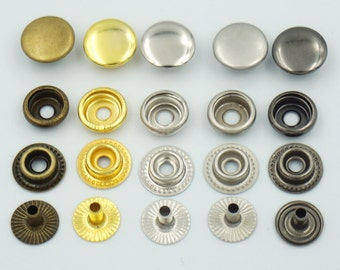 "50 Sets 12mm 1/2"" Metal Snap Fastener Leather Rapid Rivet Button Sewing C14"