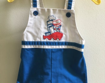 Vintage Carter's Overalls Shortalls 12 Months Boat Nautical