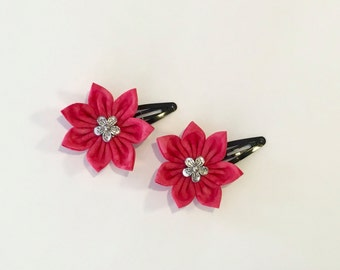 Hot Pink Flowers Snap Clip Set