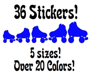 36~Multi-sized Roller Skates stickers or wall decals