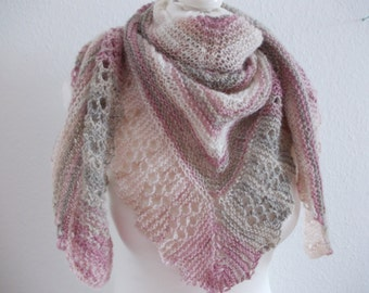Cozy shawl with Angora - natural/pink/beige